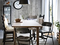 eclectic ikea. STORNÄS grey-brown extendable table seats 4-6 with chairs in solid wood and foldable chairs