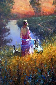 Woman with geese at sunset, robert hagan art paintings