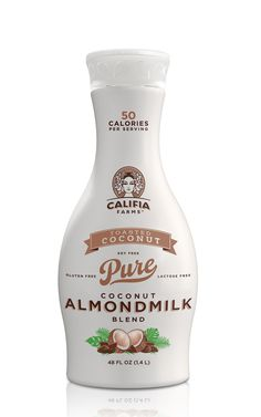 Califia Farms - The Dieline -Like how the text is different and how Almond Milk has a fake drop shadow