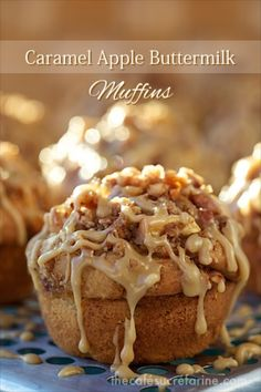 Caramel Apple Buttermilk Muffins - What a winning combination! They rise up tall and high with beautiful golden domes covered with lots of buttery cinnamon crumble and shards of lovely apple sticking out here, there and everywhere.