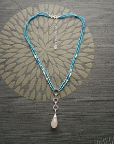 Lariat Turquoise Necklace  Sterling Silver Pendant with by KRAMIKE