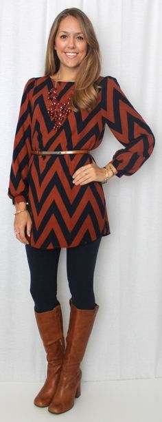 cute chevron dress styled with leggings and boots. I like this. I would do different boots though. maybe black boots