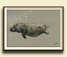 Imprimir imprimir-hipopótamo-hippo natación por SanMartinArtsCrafts
