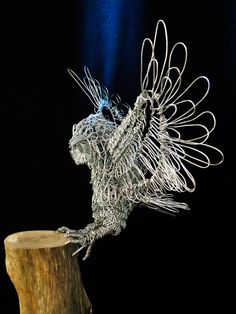 Coming in to land - Wire Sculpture by Gill Holland Wire Art