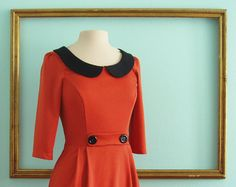 vintage inspired dress in burnt orange peter pan collar with elbow length sleeves - SUSAN style