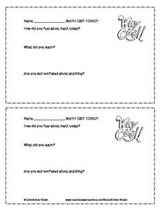 This is an open-ended exit ticket that can be used with any math lesson. Students share how they felt about class, what they learned, and if there is still something confusing to them. I staple it to the worksheet we completed. Sixth Grade Math, Grade 2, Third Grade, Teaching Schools, Math Education, Teaching Ideas, Math Class, Maths, Math Talk