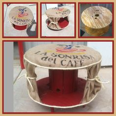 Upcycled wood spool made into cute burlap sack ottoman.  With book shelf.  By Upcycled _Diva