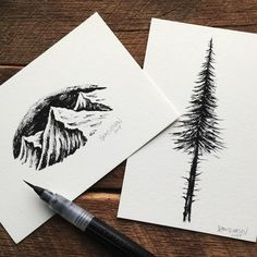 Working on a bunch of these little brush pen originals for my store. Is that something you guys would be interested in?  #art #illustration #mountains #trees
