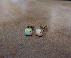 Fire Opal studs Earrings, White Opal with 316L Surgical Steel Post, hypoallergenic earrings 4mm,5mm by Purityjewel on Etsy https://www.etsy.com/listing/203514288/fire-opal-studs-earrings-white-opal-with