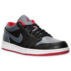 Men's Air Jordan Retro 1 Low Basketball Shoes  Finish Line   Black/Cool Grey/Gym Red