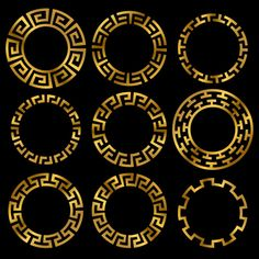 Find Golden Ancient Greek Round Frame Ornament stock images in HD and millions of other royalty-free stock photos, illustrations and vectors in the Shutterstock collection. Thousands of new, high-quality pictures added every day. Greek Mythology Tattoos, Roman Mythology, Arte Linear, Greek Pattern, Motif Art Deco, Ancient Greek Art, Greek Design, Logo Design, Graphic Design