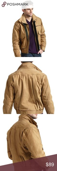 a51c89ed Men's Tan Suede Nubuck Leather Bomber Jacket (NEW) This classic European  bomber jacket is