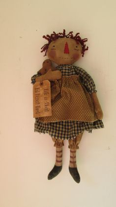 Primitive Raggedy with Gingerbread by Bettesbabies on Etsy, $42.00