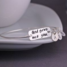God Gave Me You Bracelet, Personalized Mother's Bracelet in Sterling Silver