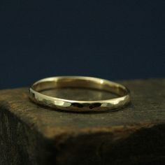 Hammered Gold Wedding Ring2mm Wide Perfect by RevolutionBA on Etsy