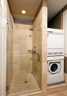 Stacked Washer And Dryer And Small Shower 2nd Bathroom Pinterest Washers Washer And
