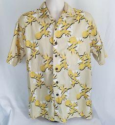 8aa0038f1 Pacific Scene Hawaiian Shirt Sz Large Ukelele Palm Tree Beige Button Front  #PacificScene #HawaiianCasual