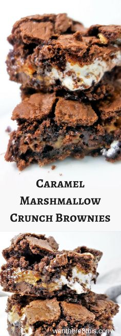 These Semi-homemade Caramel Marshmallow Crunch Brownies are so good it will take all your will power to not eat the whole pan! brownie recipe   homemade brownies   gooey brownies   caramel brownies   marshmallow brownies   caramel marshmallow chocolate   Rice crispy brownie   chewy brownies   soft brownies   best brownies