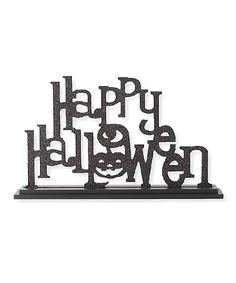 Look at this #zulilyfind! Black Glitter 'Happy Halloween' Laser Cut Block #zulilyfinds