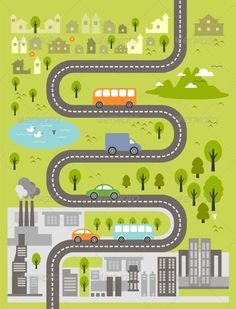 Cartoon Map of Small Town and Big City Cartoon map Map art illustration Learning graphic design