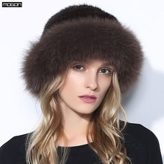 272fc994a20 Women Rushed Limited Adult Solid New Fur Hats For Winter Genuine Mink Cap  With Fox Pom