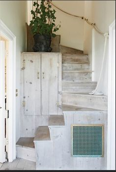 Daniel Romualdez: his tiny Montauk cottage had only an outdoor stair, until Romualdez installed an interior staircase in limed pine.