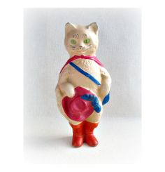 Puss in Boots Cat Soviet rubber vintage toy Old by RealTreasureBox, $8.25