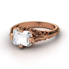 A Vintage Look! The Acadia Ring, White Sapphire, Rose Gold   Gemvara