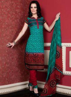 $67 Cbazaar #LovelyTurquoise #CottonChuridarSuit #Raanjhanaa