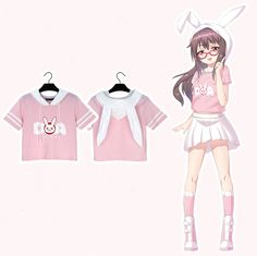 Cute Womens Clothing Short T-Shirt on Girly Girl の To Alice.Kawaii Dva Rabbit Hood Short T-Shirt Overwatch Game Tee Gg477 is a cute and unique girly designer for every female customer, which will be a eye- catching focus in the street. .It is a staple in your wardrobe for it can be worn for your daily outfit for many occasions.