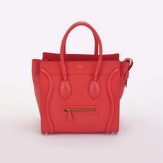 f76bcd2afb49 Celine Luggage Boston Tote Bags Calf Leather Light Red