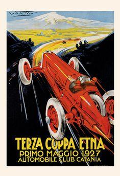 1927 ANTIQUE CAR POSTER Terza Coppa Etna by EncorePrintSociety