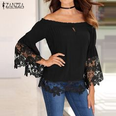 Cheap shirt storage, Buy Quality shirt bag directly from China blouse bow Suppliers: Hot Sale Women Blouses Off Shoulder Shirts 2016 Sexy Slash Neck Flare Sleeve Patchwork Lace Crochet Blusas Casual Tops Plus Size