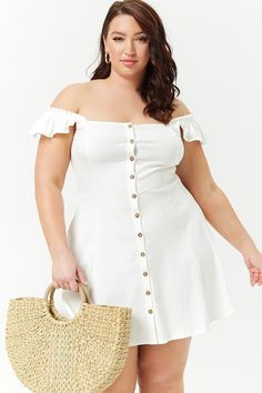 Product Name:Plus Size Button-Front Fit & Flare Dress, Category:plus_size-main, Price:17.9