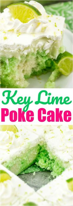 Key Lime Poke Cake recipe from The Country Cook Cake Key Lime Pie Poke Cake Poke Cakes, Poke Cake Recipes, Cupcake Cakes, Cup Cakes, Köstliche Desserts, Delicious Desserts, Dessert Recipes, Key Lime Desserts, Camping Desserts
