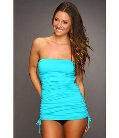 Calvin Klein solid bandeau #tankini #swimsuit