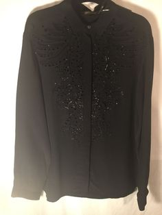 NWT AUTH Roberto Cavalli Sz 46/10 Black Silk Button Front Blouse Embroidery Fron  | eBayebay id jocraneranch-5 Buy One Item, Get One 20% OFF!
