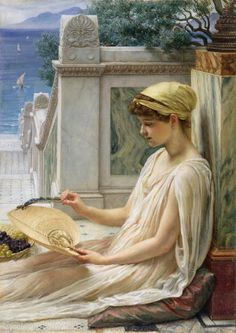 On The Terrace-Sir Edward John Poynter, (1836 – 1919 )  English painter second only to Frederic Leighton as an exponent of Victorian neo-classicism.