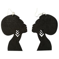 Afro Silhouette Earrings Shop our entire collection of Afrocentric earrings at… Wood Earrings, Black Earrings, Women's Earrings, African Earrings, African Jewelry, Tribal Jewelry, Africa Drawing, Dolly Fashion, Woman Silhouette