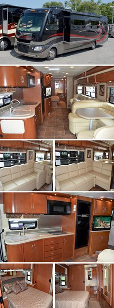 33 foot class a motorhomes with large u dinette booth for Slide out motor manufacturers