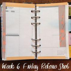 Week 6 Friday Before Shot #filofax #daytimer #franklincovey #diyfish #lifemapping #planner #planning #organization #paper #etsy