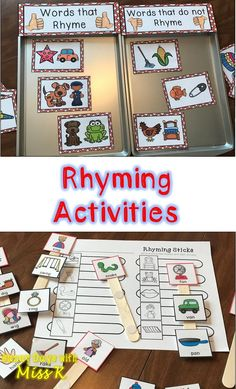 Practice rhyming with these 7 different rhyming activities that are perfect for literacy centers or guided reading tool kits. Each rhyming center activity includes an engaging activity and response sheet for student's accountability or assessment. Rhyming Kindergarten, Rhyming Activities, Kindergarten Curriculum, Pre K Activities, Kindergarten Centers, Writing Activities, Educational Activities, Literacy Centers, Kindergarten Literacy