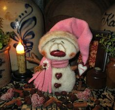 "Primitive Valentine Frosty Snowman Ornament 6"" Doll Vtg Patti's Ratties Bear"