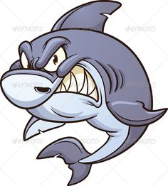 Angry Shark by memoangeles Cartoon angry shark. Vector clip art illustration with simple gradients. All ina single layer.