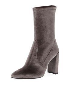STUART WEITZMAN Clinger Stretch-Velvet Mid-Calf Boot. #stuartweitzman #shoes #boots