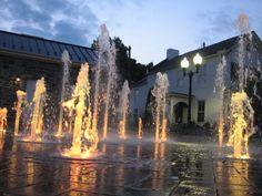 Night view, Winchester Pedestrian Mall splash pad.