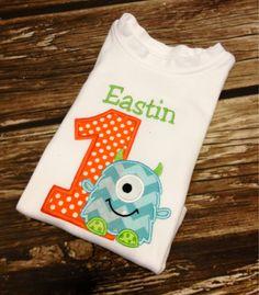 Personalized Monster Birthday Shirt - Monster Birthday, FREE Personalization, Boys Or Girls. $22.00, via Etsy.