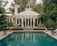 Pool house exterior light and accents, landscaping | Ferguson and Shamamian Architects, LLP