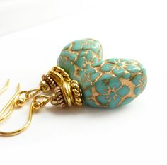 Turquoise Beaded Earrings, Gold Inlay, Czech Glass Drops, Turquoise & Gold Drops, Handmade Jewelry. $28.00, via Etsy.