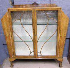 ART DECO WALNUT DISPLAY CABINET Display Cabinet Lighting, Minimalist Closet, Art Deco, 1930s House, Glass Shelves, Inspiration, Furniture, Home Decor, Antiquities